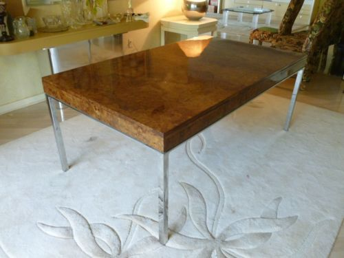 70s High End Burlwood Chrome Dining Table Milo Baughman Pace Romeo