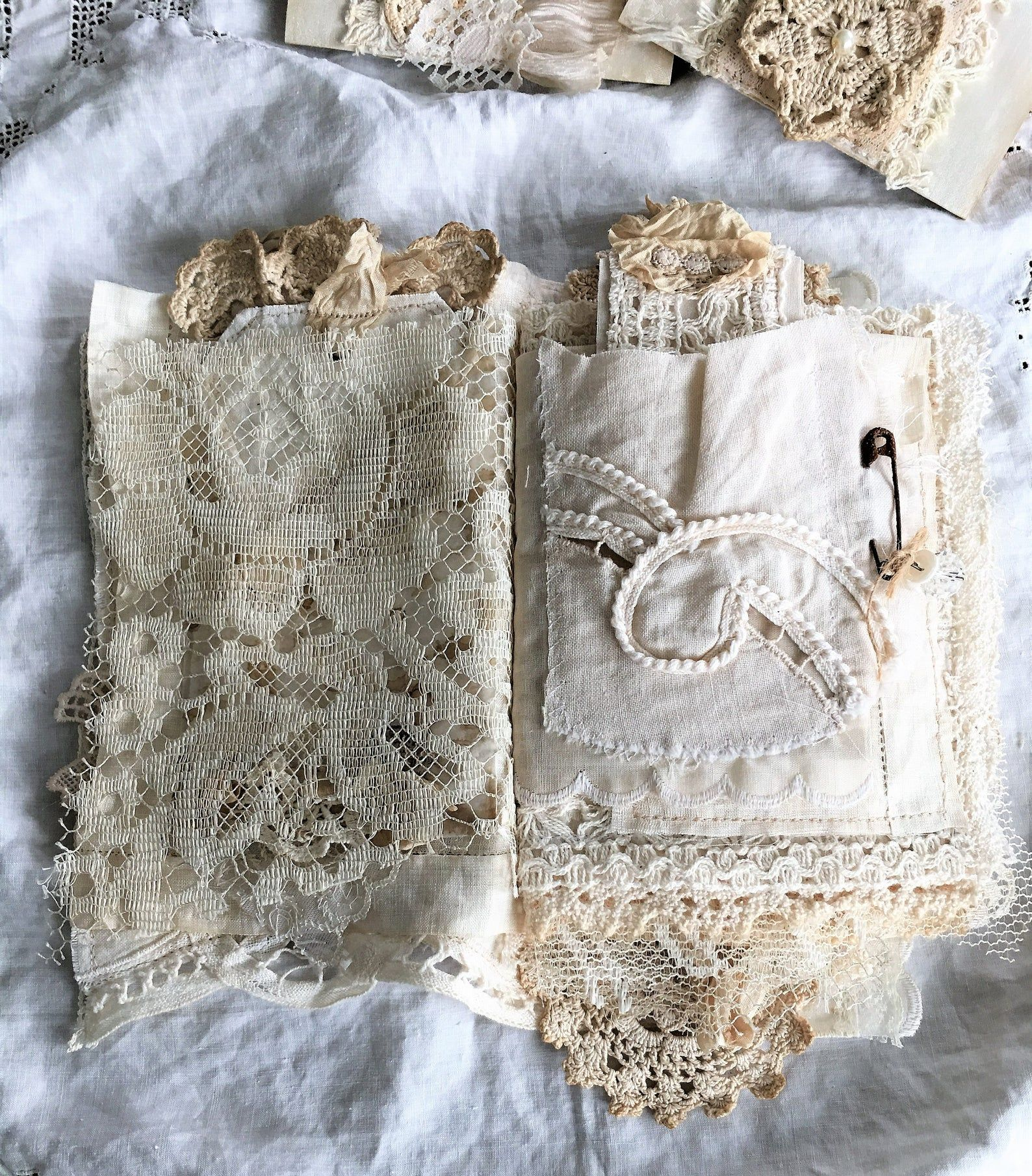Reserved Vintage Linen And Lace Journal Heirloom Journal Etsy In 2020 Linens And Lace Vintage Linens Fabric Book