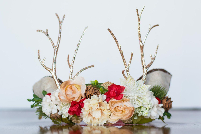 Antler Flower Crown - Woodland Rustic Halo - Flowergirl piece - Christmas Wedding - Deer Newborn Prop - Wedding Crown - Floral Hairpiece by LittleLadyAccessory on Etsy