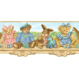 """allen roth 5"""" Teddy Bears Shelf Prepasted Wallpaper Border"""