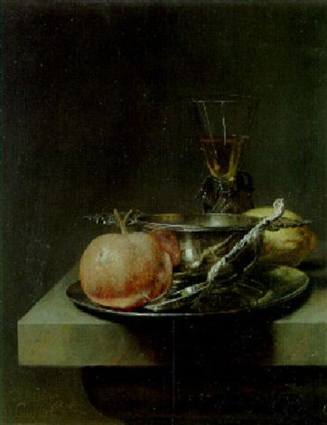 Siver brandy cup, silver spoon and orange on a pewter plate with wineglass and lemon on table by Cornelis Kick