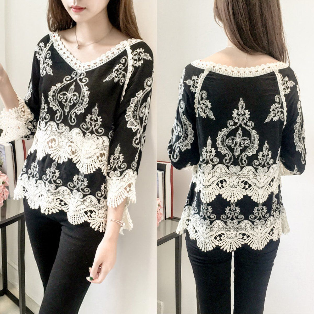 Womens Lace Floral V Neck Loose Fit Shirt Ladies Long Sleeve Casual Blouse Tops