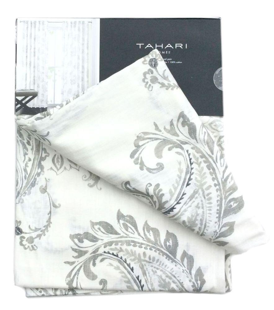 Tahari Gray White Floral Paisley Medallion Set Of 2 Window Curtain