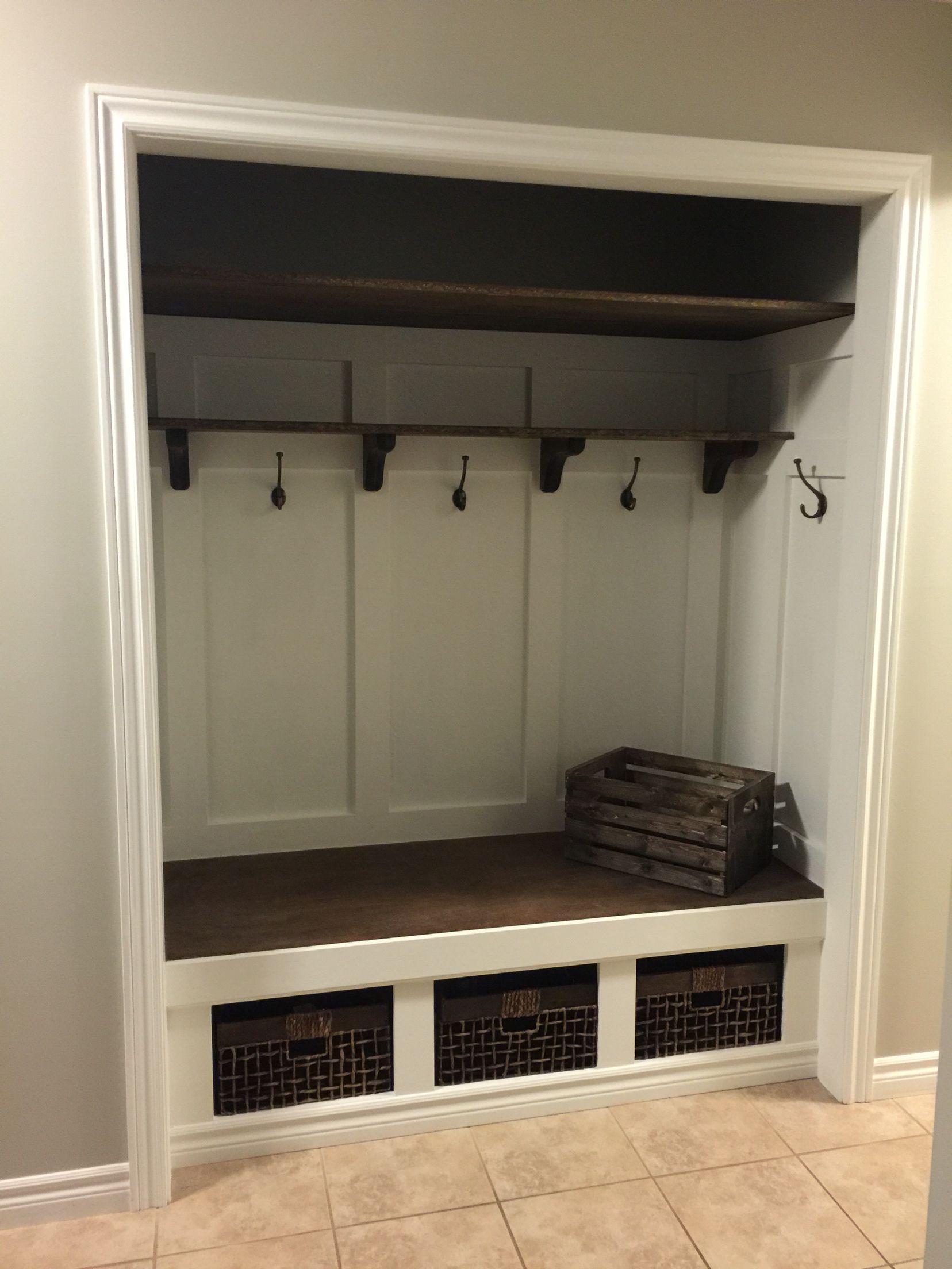 New Closet Bench Entry Closet Closet Makeover Bedroom Entryway Closet