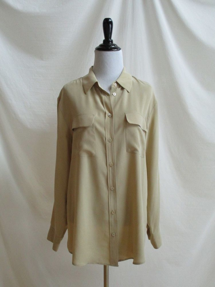 893d564742c27 Equipment Size M Slim Signature Silk Blouse Tan French Nude 100% Silk  Buttons  Equipment