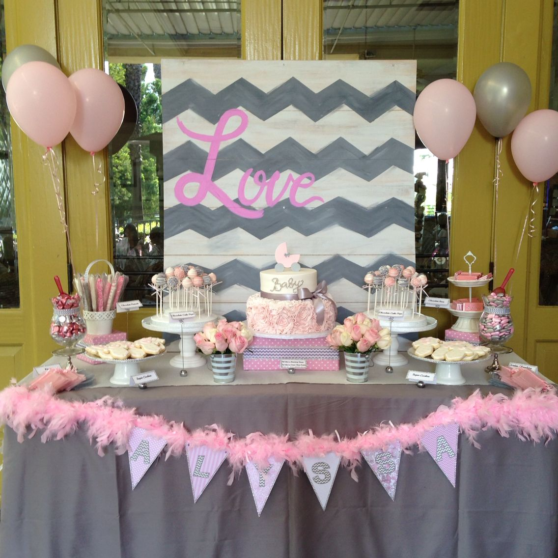 Pink And Gray Elephant Baby Shower Decorations: Chevron, Pink, Grey, Baby Shower, Carriage Rossette Cake