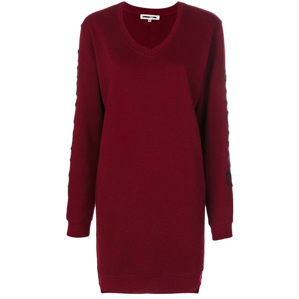 McQ Alexander McQueen embroidered sweatshirt dress (1,625 MYR) ❤ liked on Polyvore featuring dresses, red, loose dress, cotton dress, red v neck dress, long sleeve purple dress and long sleeve cotton dress