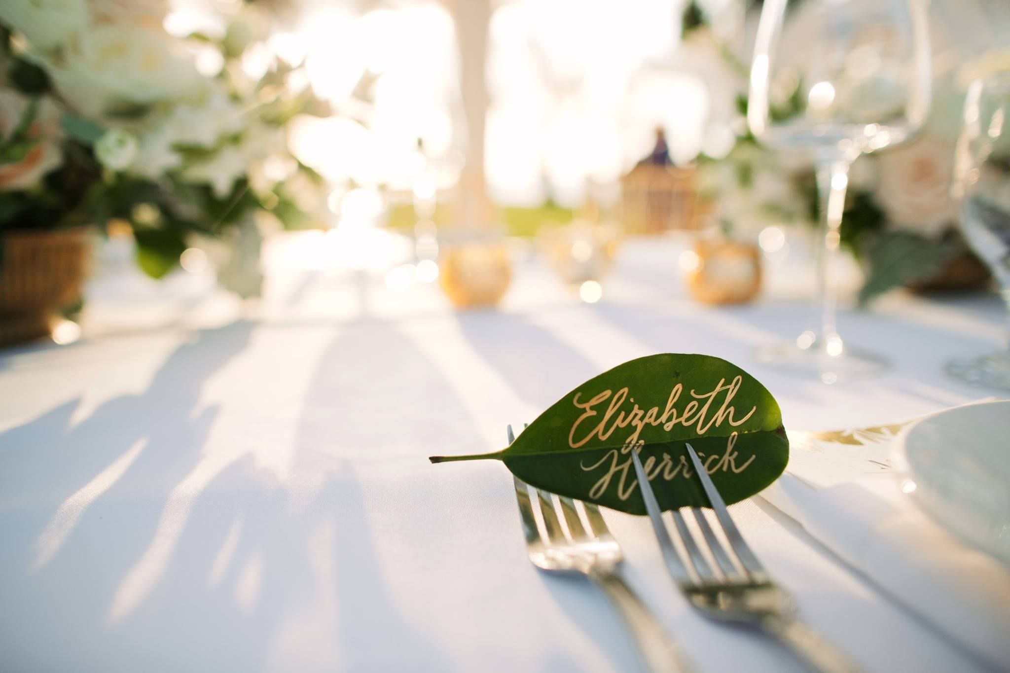 Gold And Leaf Wedding Table Name Card Anna Kim Photography