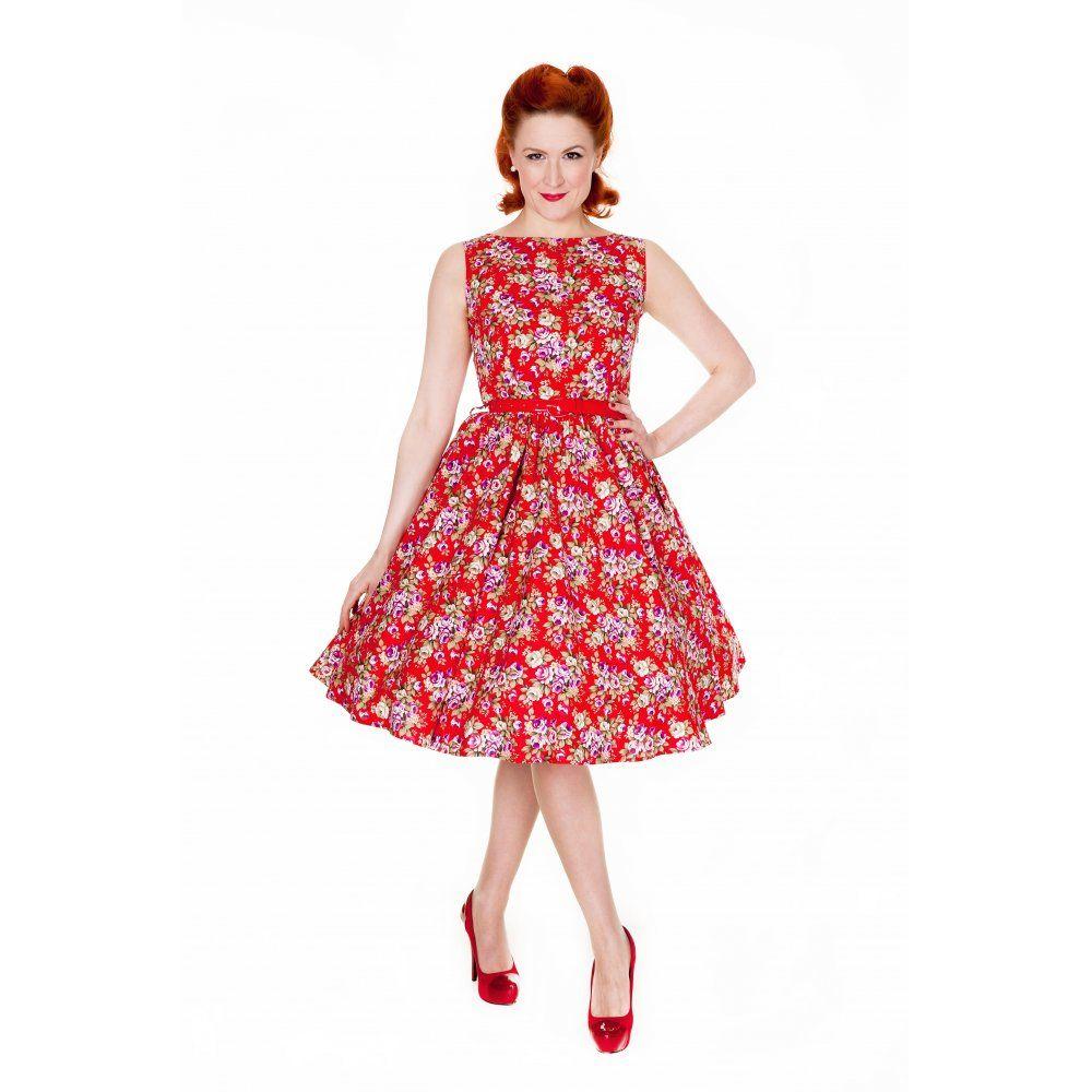 Audrey Red Floral Swing Dress | Vintage Inspired Fashion - Lindy Bop ...