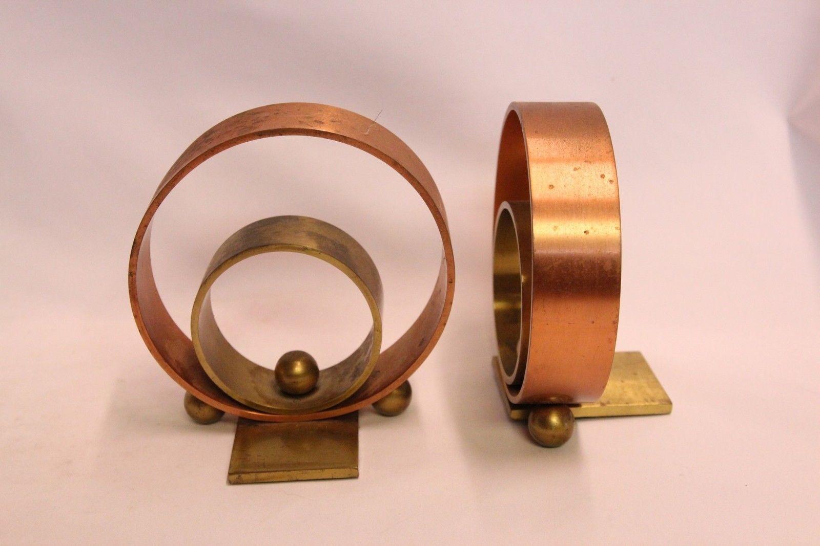 Industrial Machinge Age Deco Chase Double Circle Ball Bronze Bookends Von Nessen | eBay