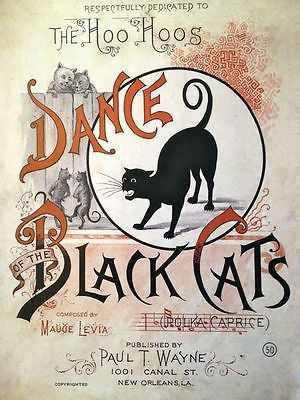 Dance-of-the-Black-Cats-REPRO-PRINT-1800s-Sheet-Music-Vintage - halloween decorations black cat