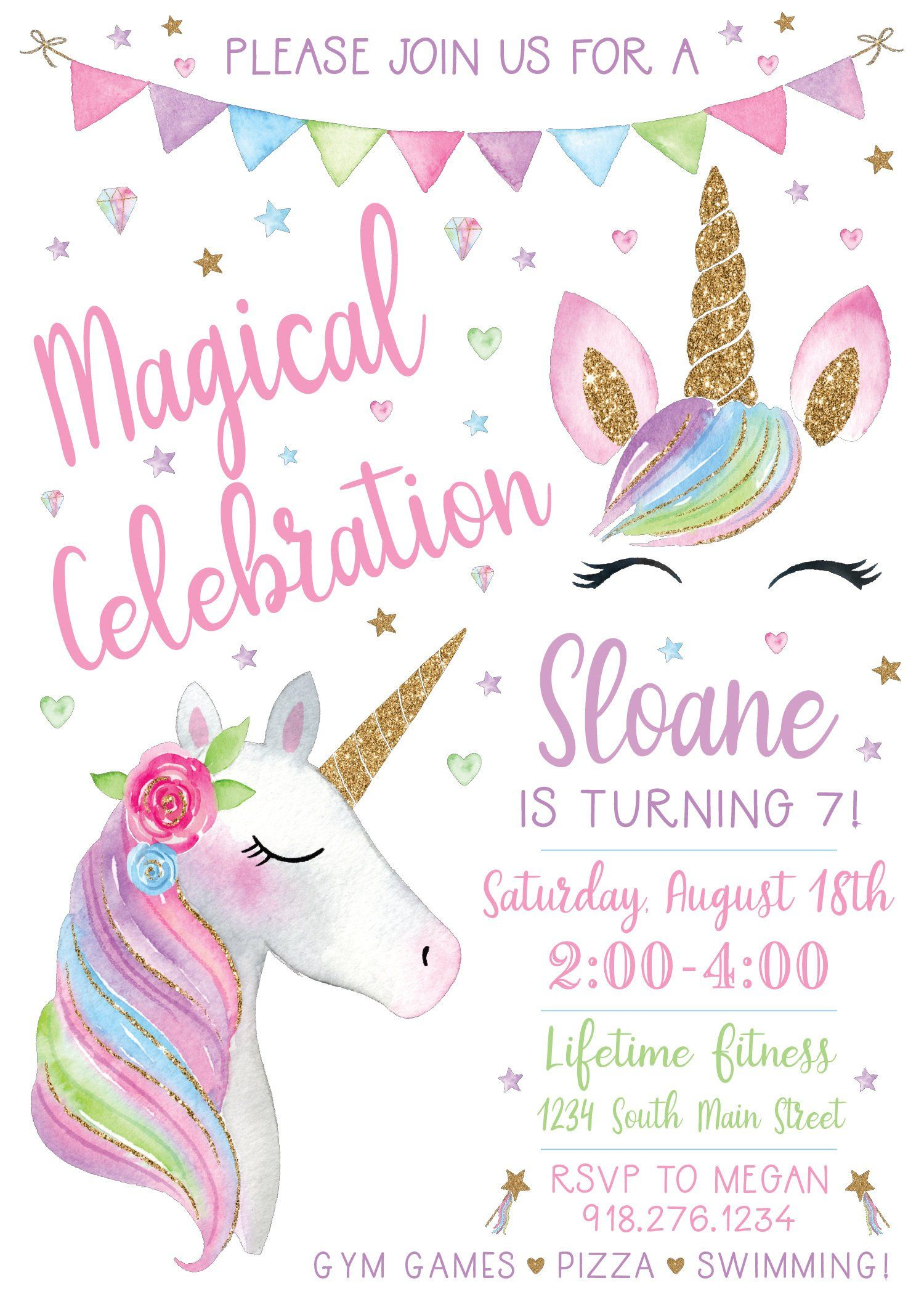 unicorn birthday invitation print