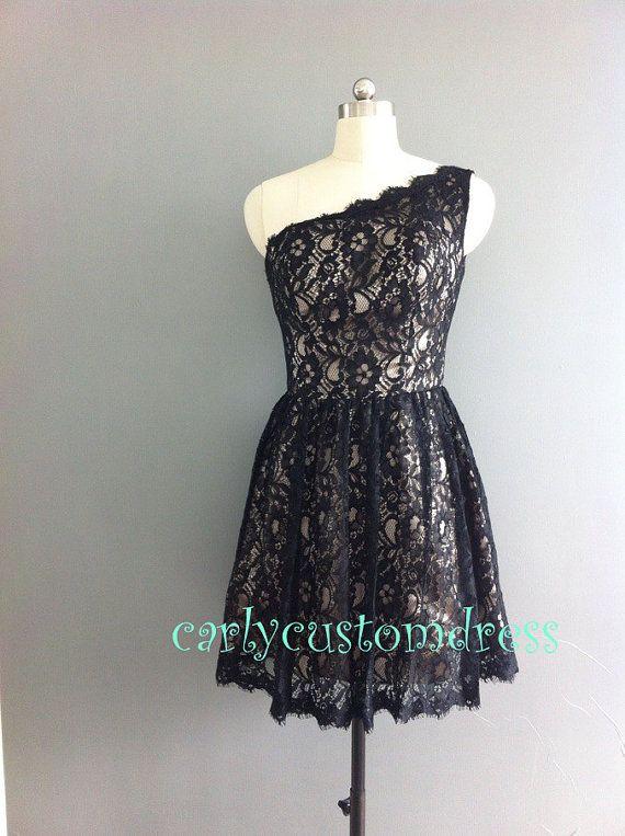 Short White Wedding Dress Black Lace : Short lace bridesmaid dress black ivory white red