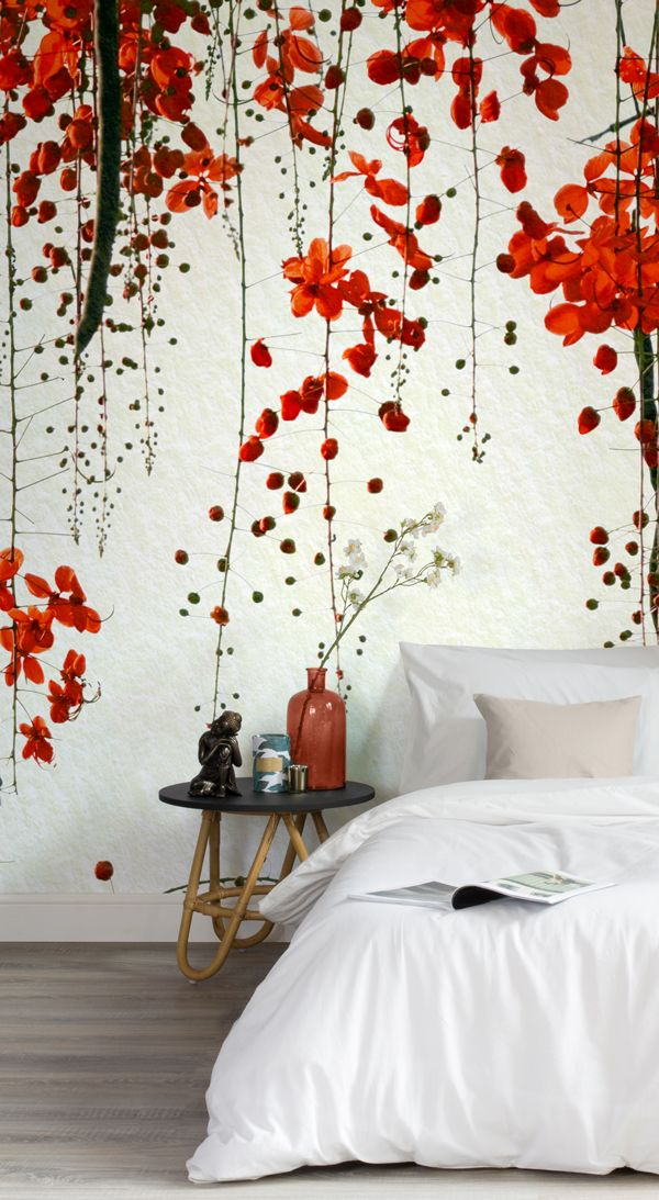 Red Japanese Blossom Wallpaper Mural Murals Wallpaper Wallpaper Bedroom Feature Wall Bedroom Wallpaper Red Feature Wall Bedroom