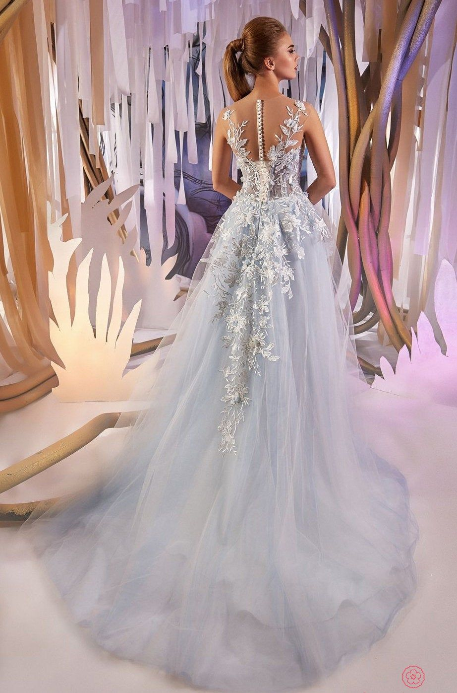 2020 Blue Wedding Dress with 3d Lace , Romantic Wedding