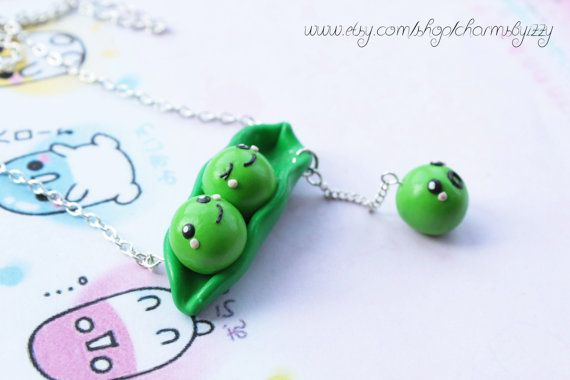 Kawaii Peas In a Pod Polymer Clay Charm Necklace by CharmsByIzzy, $8.05