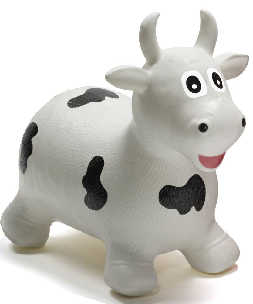 670a80795 Jumping Hoppers Animal Kids WHITE MILK COW inflatable jumping TOY ...