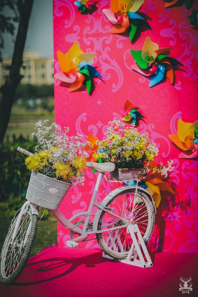 3d paper decor with cycle photobooth Themed wedding