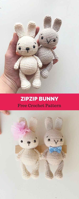 Zipzip Bunny [ FREE CROCHET PATTERN   Crochet Animals and Such ...