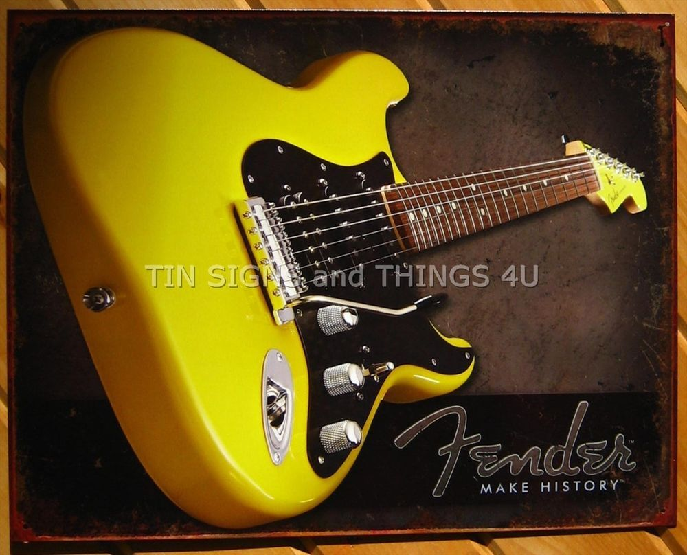 Fender Make History Yellow guitar TIN SIGN vtg metal music bar decor ...
