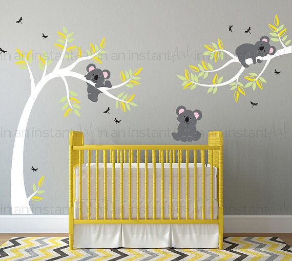 Sticker Mural Koala Ours De Koala Dans Larbre Avec Des Deco