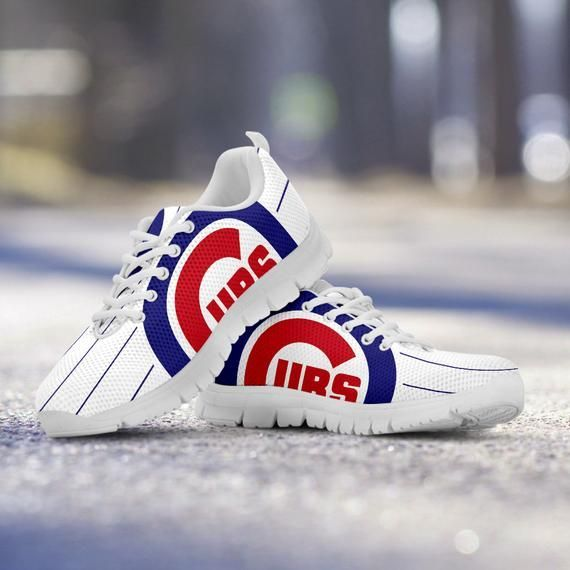 697b546865bef Chicago Cubs Fan Unofficial Custom Stripe White Shoes Sneakers Trainers -  Ladies