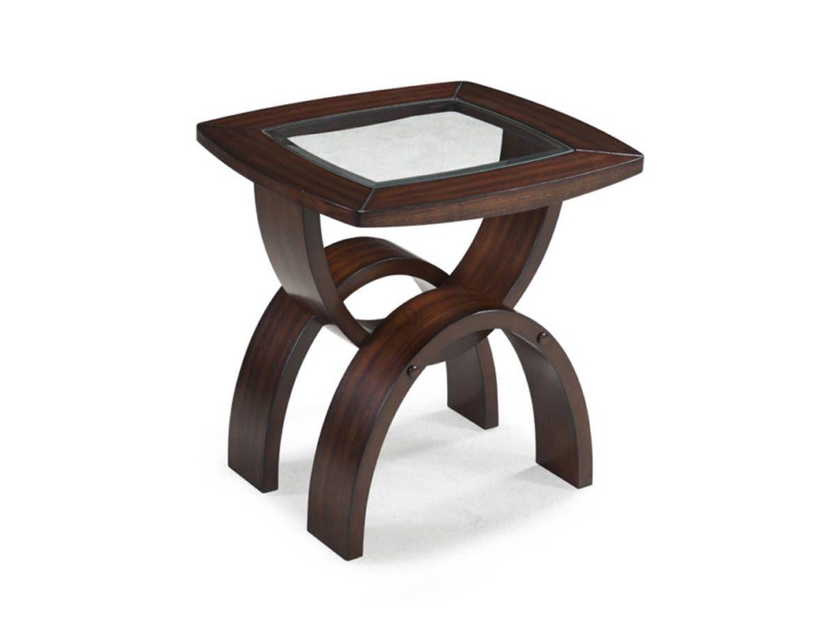 Helix Casual Hazelnut Wood Glass Rectangular End Table End