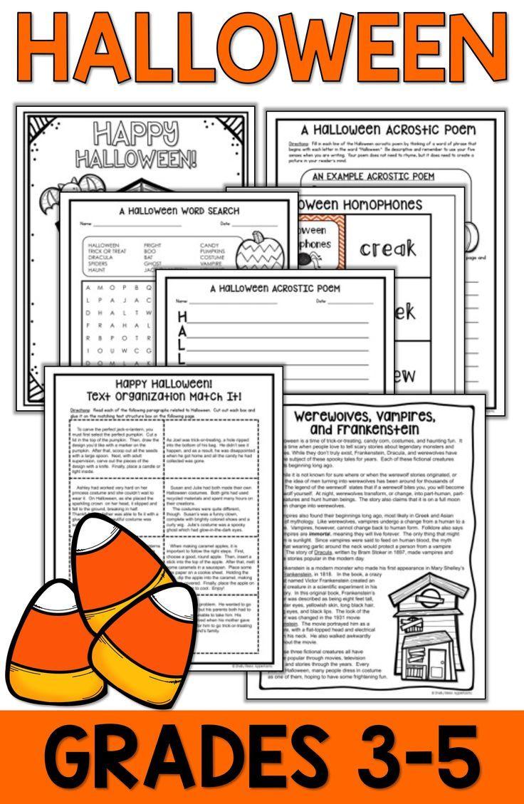 Halloween Reading activities for 3rd [ 1129 x 736 Pixel ]