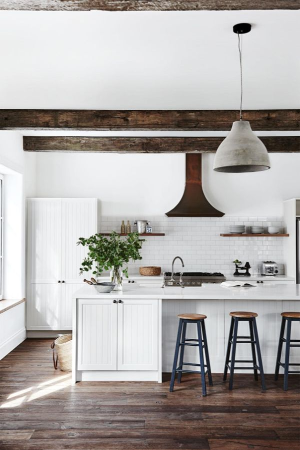 All White Kitchen And Dark Wood Beams Industrial Barstools