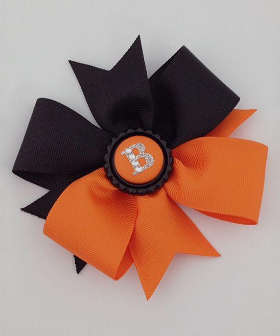 Orange & Black Halloween Pinwheel Initial Bow