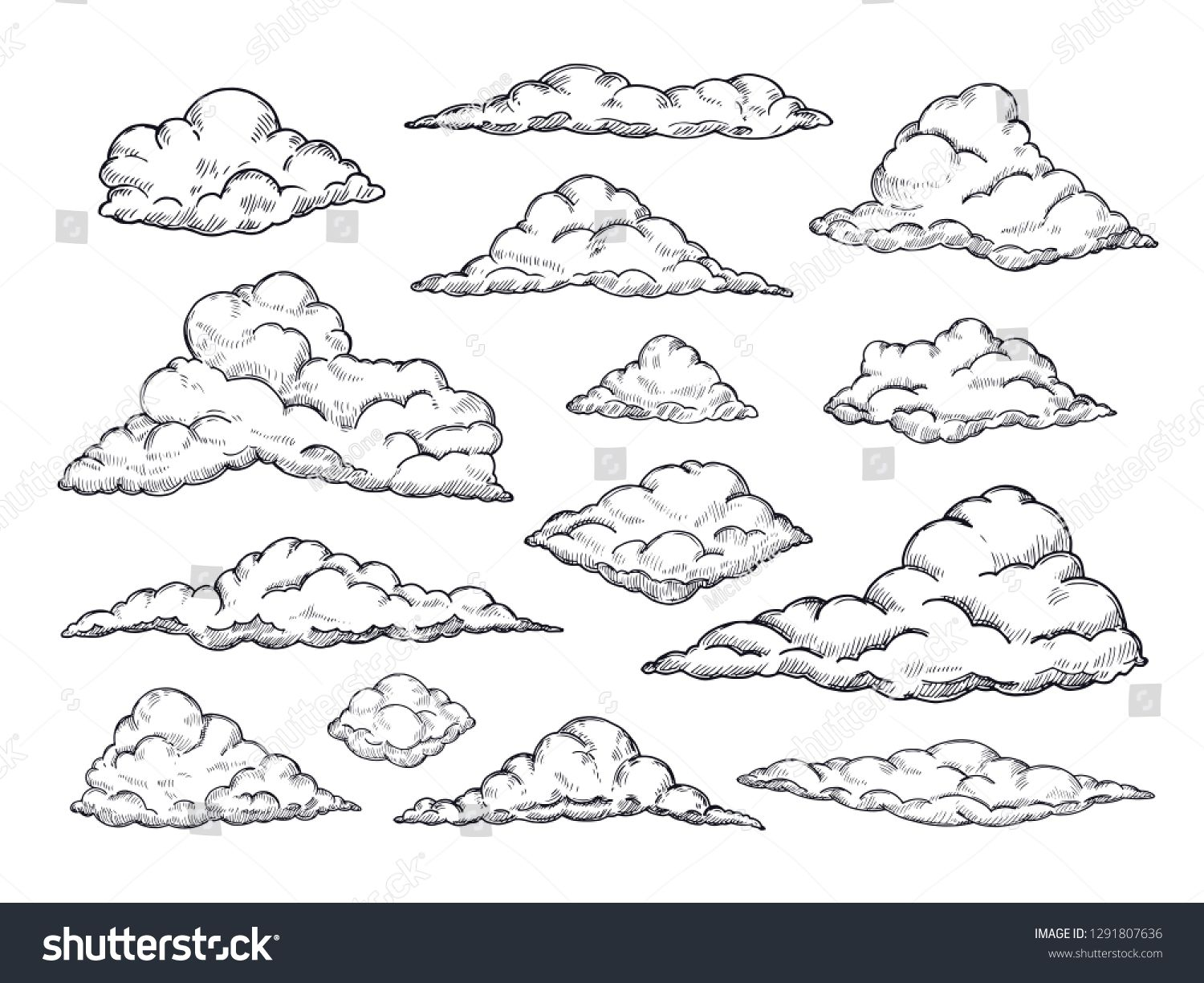 Sketch Clouds Hand Drawn Sky Cloudscape Outline Sketching Cloud