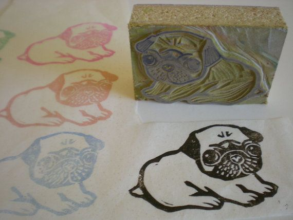 Pug dog stamp hand carved linoleum quot