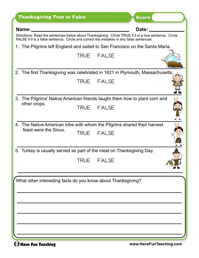 Thanksgiving True Or False Worksheet In 2020 Teaching Thanksgiving Thanksgiving Worksheets Rules For Kids