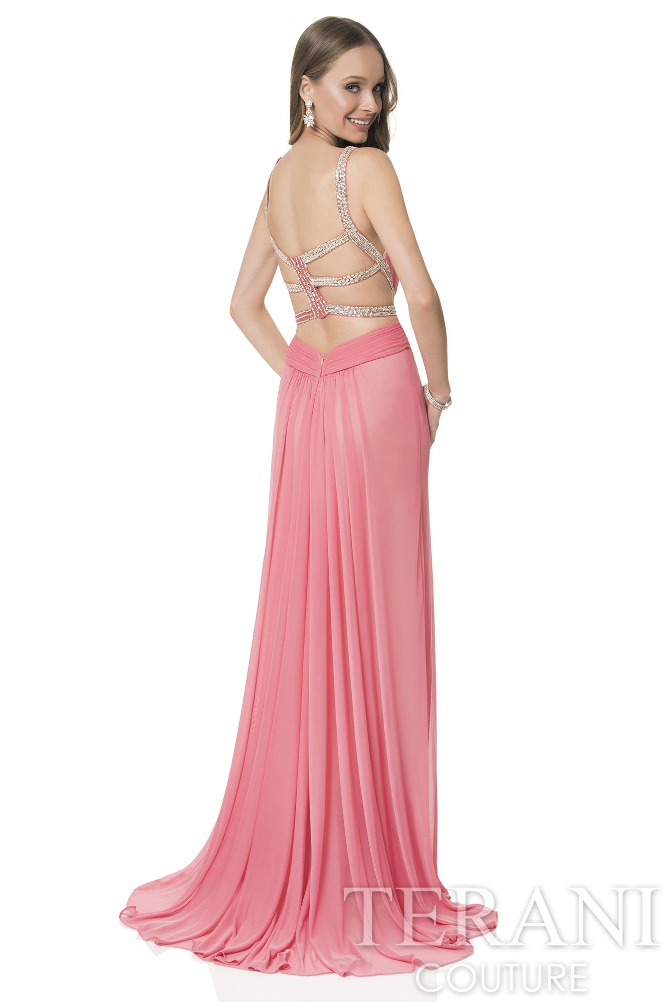 Grecian inspired mesh wrap prom gown. This prom dress features ...