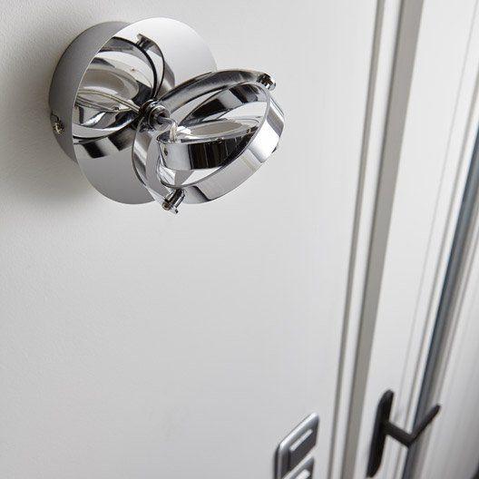 Spot patère design led intégrée métal Chrome, 1 INSPIRE spots - plafond pvc pour salle de bain
