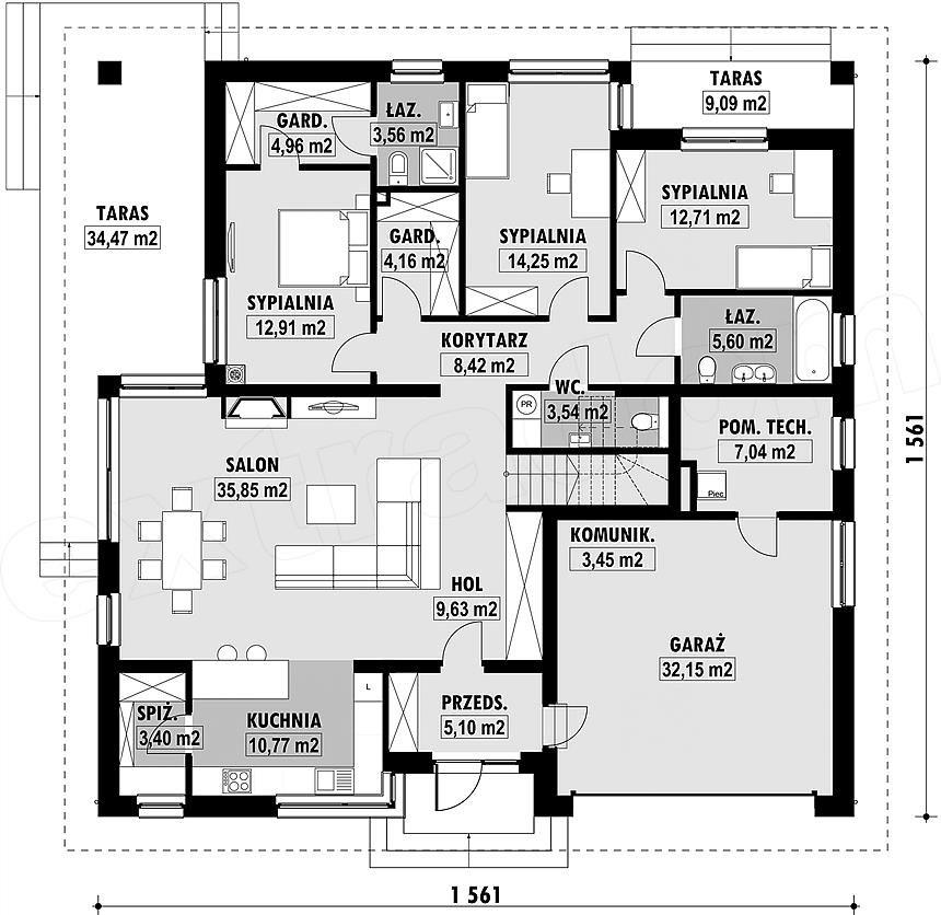Projekt domu E-179 | Four bedroom house plans, Bungalow design