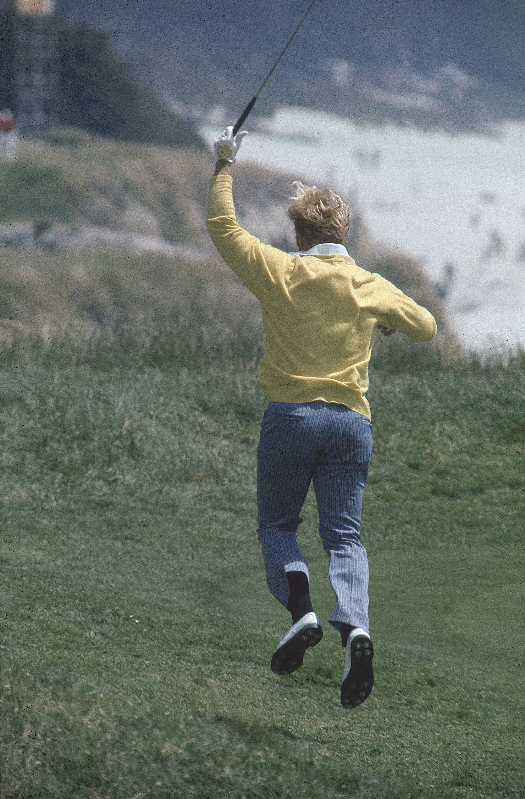Jack Nicklaus reacts to a shot in the final round of the 1972 U.S. Open at Pebble Beach.