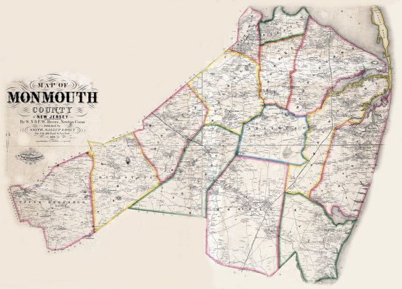 1861 Map of Monmouth County New Jersey Building