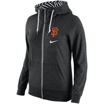 d9d3acef9834 Nike San Francisco Giants Women s Black Gym Vintage Full-Zip Hoodie ...
