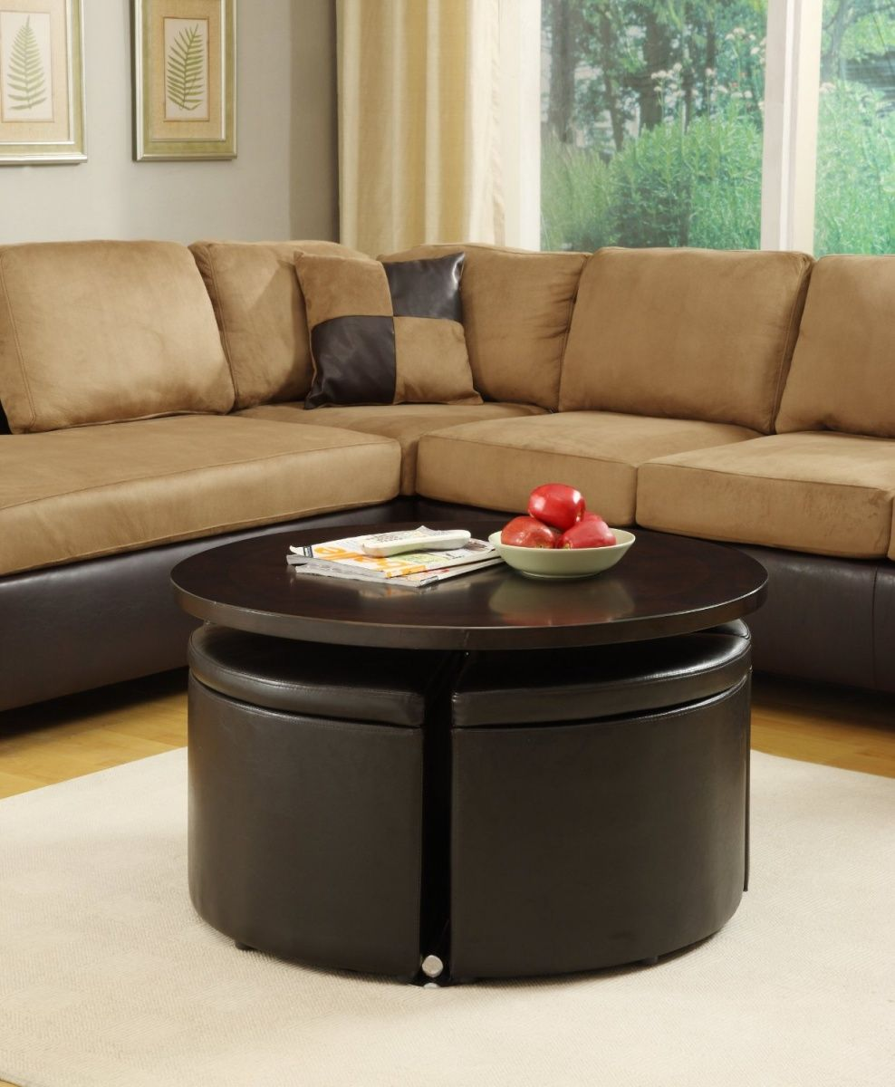 Awesome Round Ottoman Coffee Table With Stools Feat Contemporary Sectional Brown Leather Sofa Design Muebles Pequenos Muebles Ahorra Espacio Muebles