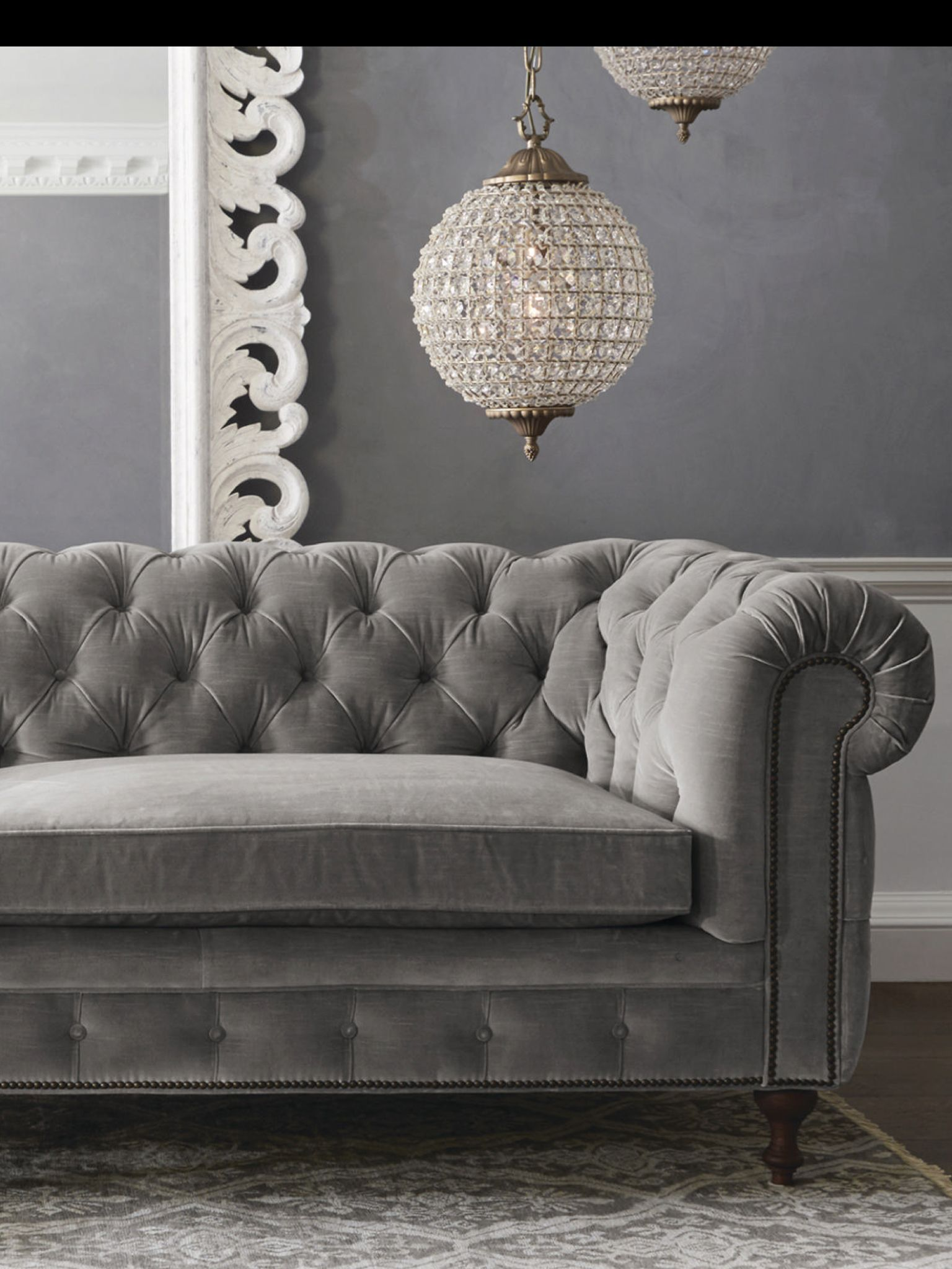 Gray Velvet Tufted Sofa Grey