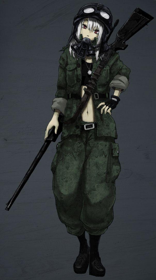 Tags anime rifle shotgun goggles helmet gas mask - Anime sniper girl ...