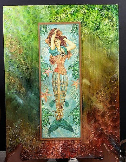 Mermaid Wall Art - Steampunk Mermaid - Masculine Gift - Steampunk Decor - Nautical Decor - Mermaid Bathroom Decor - Mixed Media Art #mermaidbathroomdecor