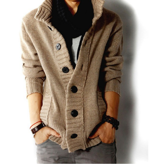 Men's High Collar Cardigan