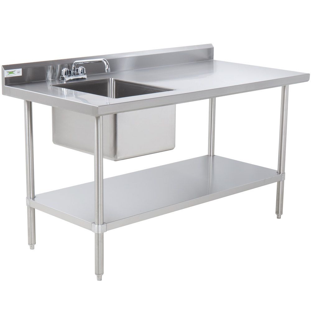 Regency 30 X 48 16 Gauge Stainless Steel Work Table With Sink In 2020 Stainless Steel Work Table Stainless Steel Table Stainless Steel Prep Table