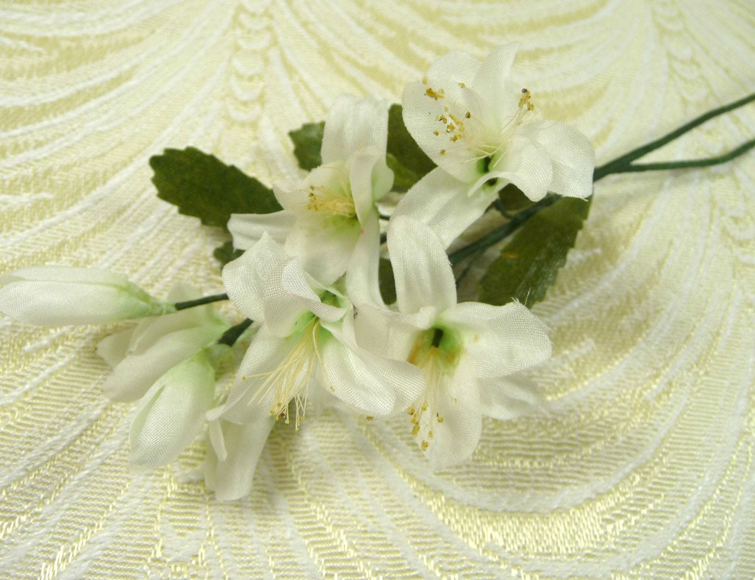 Two Stems Vintage Orange Blossoms Buds White Silk Flowers Millinery