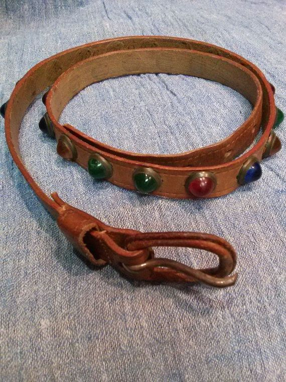 Vintage 1950s Leather Belt Multi Colored Jeweled Studded Cowboy Skinny W 28 20150717J109