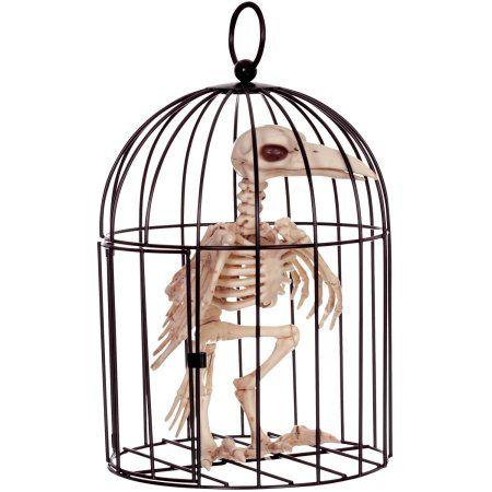 Skeleton Crow In Cage Halloween Decoration, Multicolor Crows - walmart halloween decorations