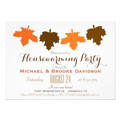 Orange Brown Fall Leaves Housewarming Party 5x7 Paper Invitation