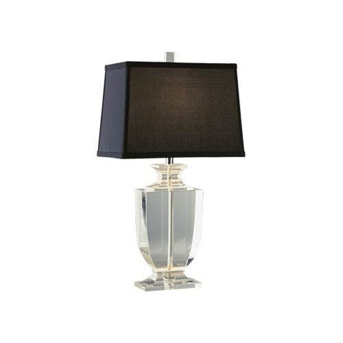 Artemis Silver Plate And Clear Crystal One Light Table Lamp With Black Shade  Robert